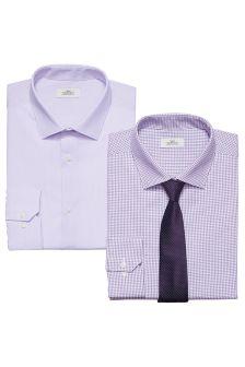 Komplet dwóch koszul z krawatami