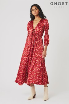 Ghost London Red Clara Floral Print Satin Dress