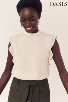 Oasis Nude Ruffle Button Back Top