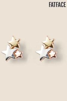 FatFace Silver Tone Triple Star Stud Earrings