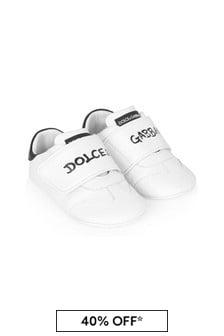 Dolce & Gabbana Kids Dolce & Gabbana Unisex White Leather Trainers