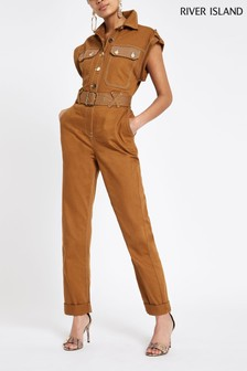 River Island Tobacco Jumpsuit