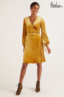 Boden Yellow Ellie Wrap Dress