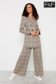 F&F Neutral Rust Check Wide Leg Trousers