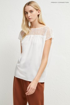 French Connection White Crepe Lace Mix V Back Shirt