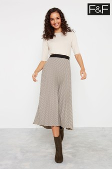 F&F Neutral Check Pleated Skirt