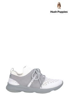 Hush Puppies Ivory Knit World Bounce Max Lace-Up Trainers