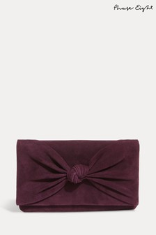 Phase Eight Purple Carrie Knot Front Suede Clutch Bag