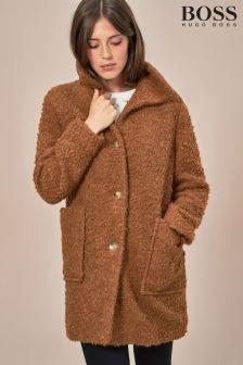BOSS By Hugo Boss Camel Teddy Bear Wool Coat