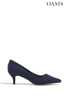 Oasis Blue Kitten Heel Court Shoes