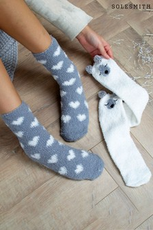 Set of 2 Polar Bear Bed Socks by Solesmith