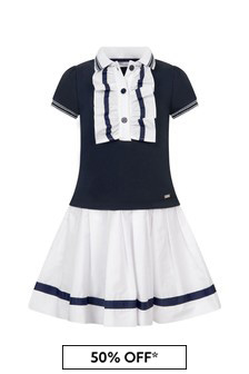 Patachou Girls Navy Cotton  Dress