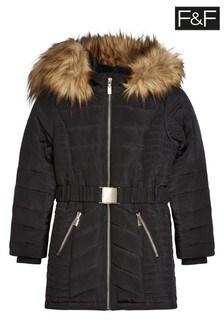 F&F Black Longline Padded Coat With Belt