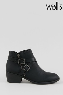 Wallis Avenger Black Double Buckle Boots