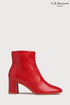 L.K.Bennett Red Jette Square Toe Boots