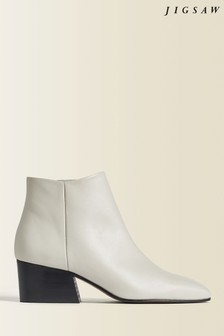 Jigsaw White Dapper Leather Ankle Boots