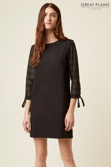 Great Plains Black Monmarte Jersey 3/4 Sleeve Dress