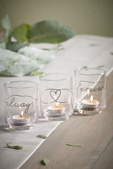 Set of 3 Forever And Always Glass Tealight Holders