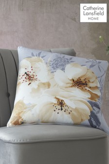 Catherine Lansfield Ochre Dramatic Floral Cushion