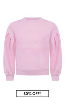 Girls Pink Cotton Logo Sweater