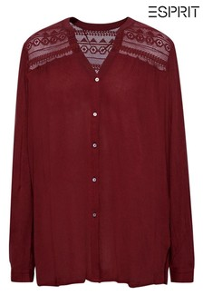 Esprit Red Henley Blouse With Lace Detail