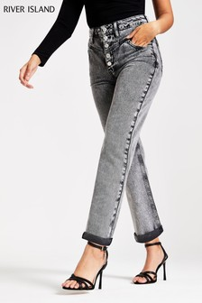 River Island Black Mom Corrosion Jeans