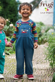 Frugi Organic Soft Dungarees With Truck And Embroidery