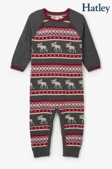 Hatley Grey Fairisle Pattern Moose Baby Sweater Romper