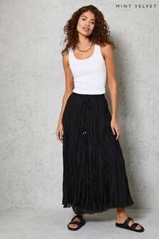 Mint Velvet Black Crinkled Maxi Skirt