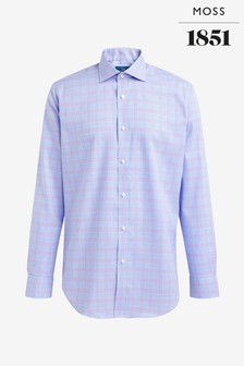 Moss 1851 Tailored Fit Lilac Single Cuff Non-Iron Shirt