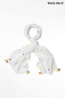 White Stuff White Daisy Embroided Linen Scarf