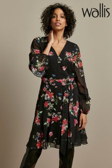 Wallis Black Floral Ruffle Sleeve Dress