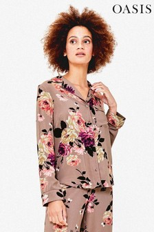 Oasis Natural Winter Rose Pyjama Shirt