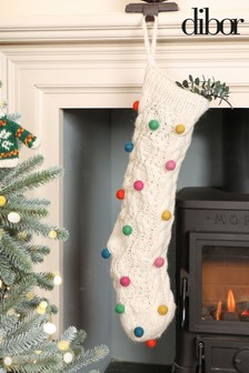 Knitted Pom Pom Stocking by Dibor