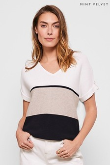 Mint Velvet White Blocked V-Neck Knitted Top