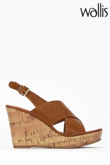 Wallis Spinelli Tan Cross Foot Cover Wedges