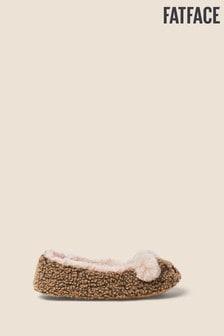 Prírodné balerínkové papuče s medveďom FatFace Belinda