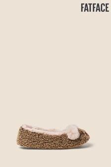 Fatface Natural Belinda Bear Ballerina Slippers