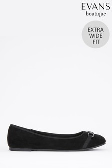 Evans Black Extra Wide Fit Chain Trim Ballerinas