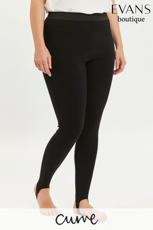 Evans Curve Black Stirrup Leggings
