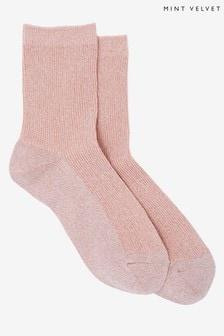 Mint Velvet Pink Glitter Socks