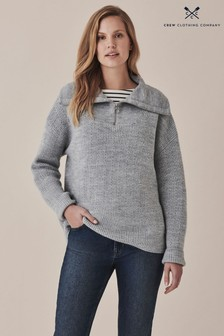 Crew Clothing Company Grey Kara Zip Neck Jumper