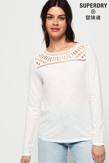 Superdry Alana Crochet Lace Long Sleeve Top