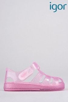Igor Pink Star Glitter Sandals