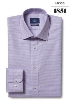 Moss 1851 Tailored Fit Lilac Single Cuff Dobby Shirt