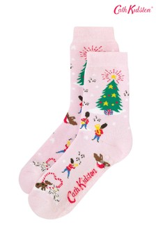 גרביים למיטה של Cath Kidston® דגם Christmas Village בוורוד