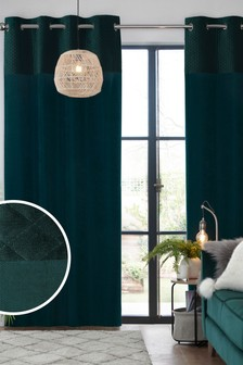 Bottle Green Velvet Quilted Hamilton Top Panel Eyelet Lined Curtains