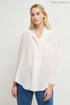 French Connection Cream Crepe Convertible Collar Shirt