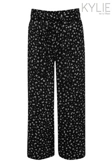 Kylie Black Ditsy Culotte Trousers