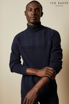 Ted Baker Navy Rolly Chunky Cotton Blend Roll Neck Jumper